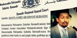 Maxkamad BAAFINAYSA Madaxa Universal TV, Axmed Abuubakar Mubaarak